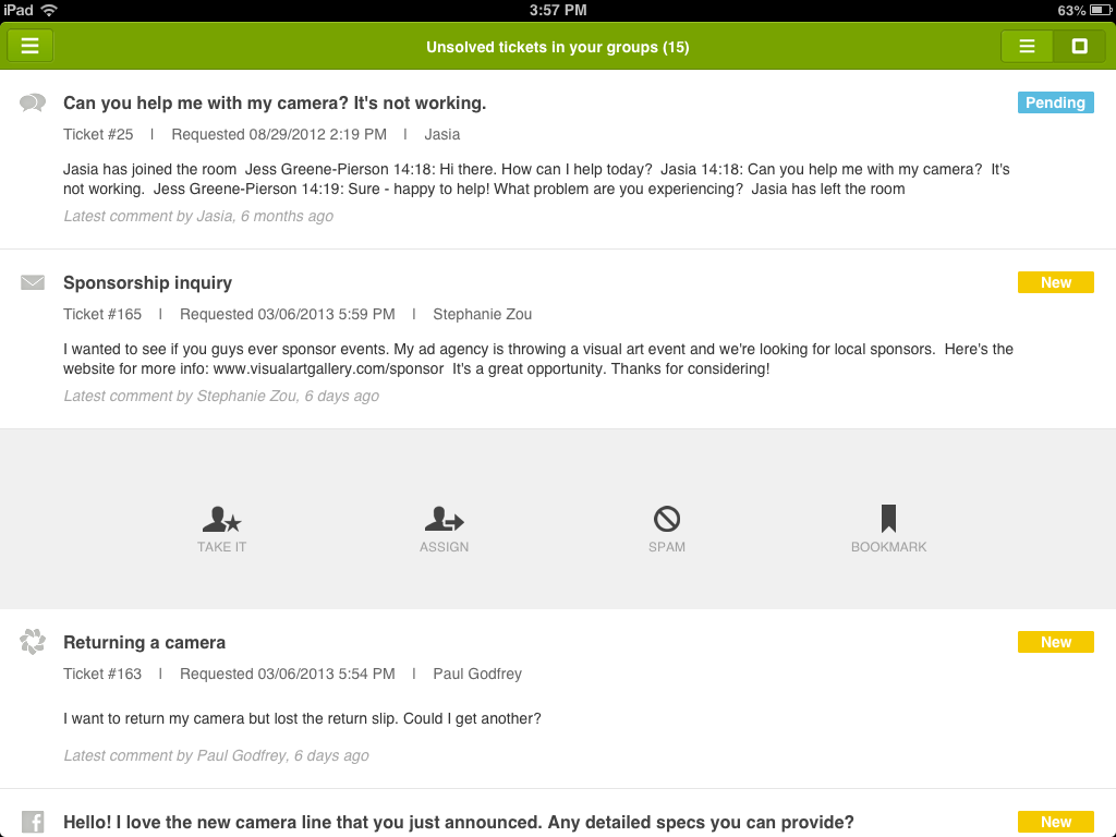 View of an Agent's Ticket Activity in Zendesk for iPad