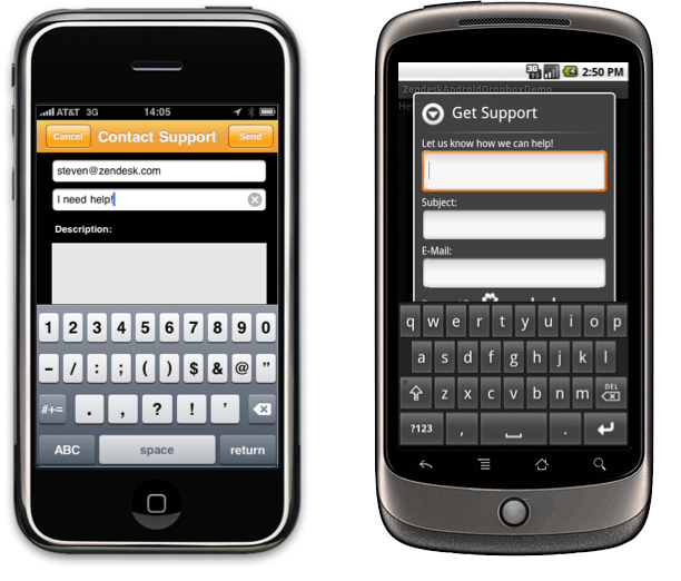 Zendesk mobile feedback tab for iPhone and Android