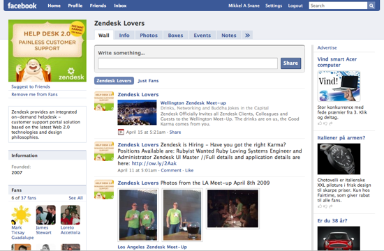 Zendesk Fan page on Facebook
