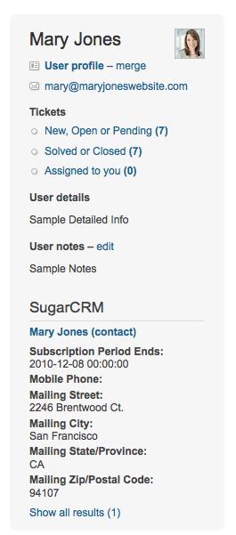 CRM integration for Zendesk help desk software