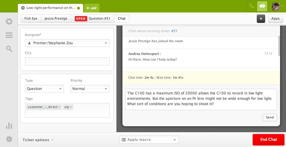 Support for Multiple Customers During a Live Chat Session within Zendesk